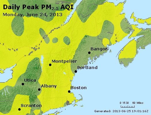 Peak Particles PM<sub>2.5</sub> (24-hour) - http://files.airnowtech.org/airnow/2013/20130624/peak_pm25_vt_nh_ma_ct_ri_me.jpg