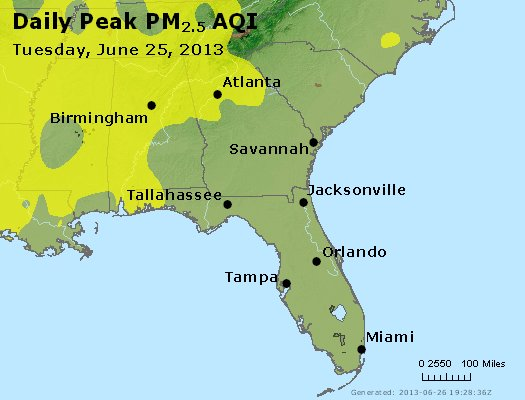 Peak Particles PM<sub>2.5</sub> (24-hour) - http://files.airnowtech.org/airnow/2013/20130625/peak_pm25_al_ga_fl.jpg