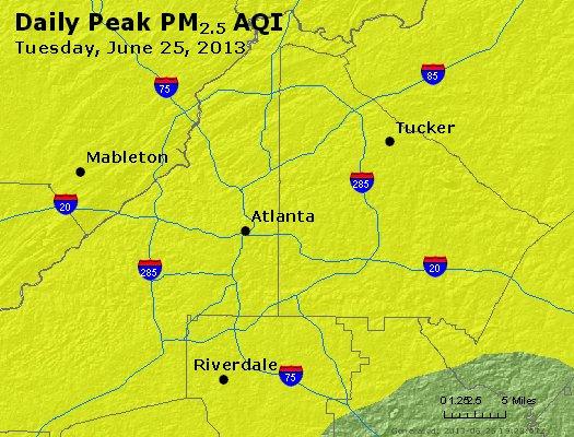 Peak Particles PM<sub>2.5</sub> (24-hour) - http://files.airnowtech.org/airnow/2013/20130625/peak_pm25_atlanta_ga.jpg