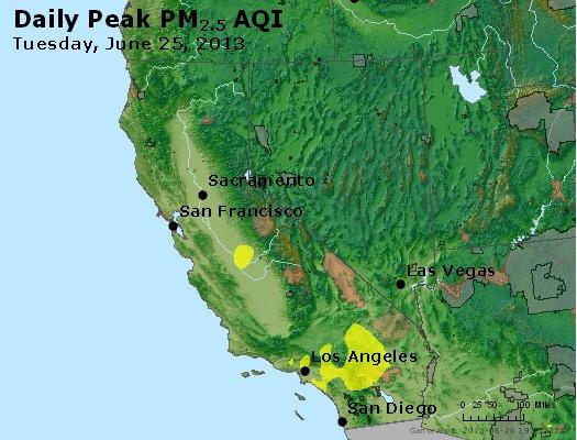 Peak Particles PM<sub>2.5</sub> (24-hour) - http://files.airnowtech.org/airnow/2013/20130625/peak_pm25_ca_nv.jpg