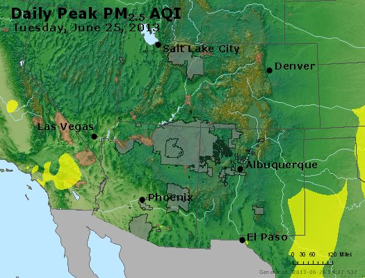 Peak Particles PM<sub>2.5</sub> (24-hour) - http://files.airnowtech.org/airnow/2013/20130625/peak_pm25_co_ut_az_nm.jpg