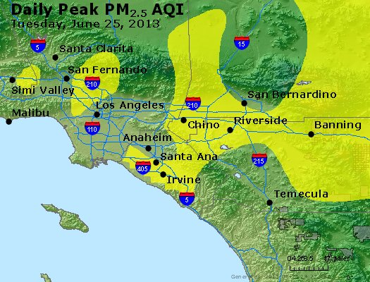 Peak Particles PM<sub>2.5</sub> (24-hour) - http://files.airnowtech.org/airnow/2013/20130625/peak_pm25_losangeles_ca.jpg
