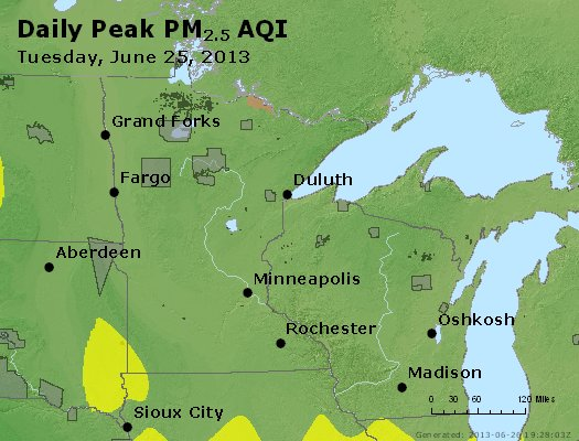 Peak Particles PM<sub>2.5</sub> (24-hour) - http://files.airnowtech.org/airnow/2013/20130625/peak_pm25_mn_wi.jpg