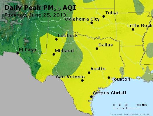 Peak Particles PM<sub>2.5</sub> (24-hour) - http://files.airnowtech.org/airnow/2013/20130625/peak_pm25_tx_ok.jpg