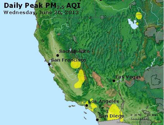 Peak Particles PM<sub>2.5</sub> (24-hour) - http://files.airnowtech.org/airnow/2013/20130626/peak_pm25_ca_nv.jpg