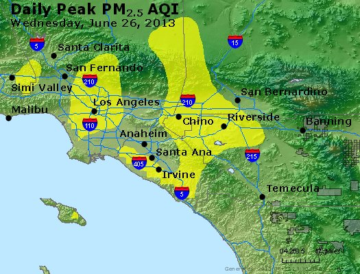 Peak Particles PM<sub>2.5</sub> (24-hour) - http://files.airnowtech.org/airnow/2013/20130626/peak_pm25_losangeles_ca.jpg