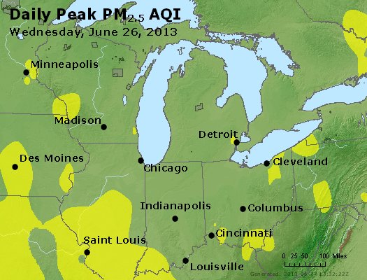 Peak Particles PM<sub>2.5</sub> (24-hour) - http://files.airnowtech.org/airnow/2013/20130626/peak_pm25_mi_in_oh.jpg