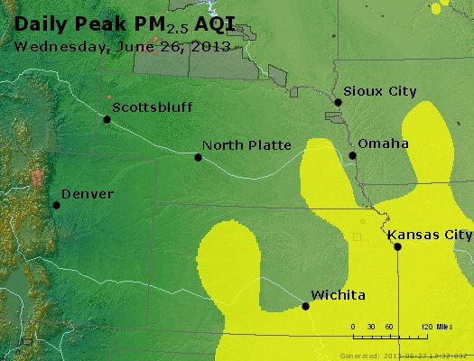Peak Particles PM<sub>2.5</sub> (24-hour) - http://files.airnowtech.org/airnow/2013/20130626/peak_pm25_ne_ks.jpg