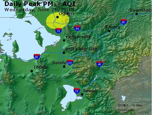 Peak Particles PM<sub>2.5</sub> (24-hour) - http://files.airnowtech.org/airnow/2013/20130626/peak_pm25_saltlakecity_ut.jpg