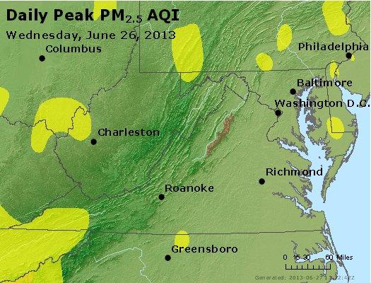 Peak Particles PM<sub>2.5</sub> (24-hour) - http://files.airnowtech.org/airnow/2013/20130626/peak_pm25_va_wv_md_de_dc.jpg