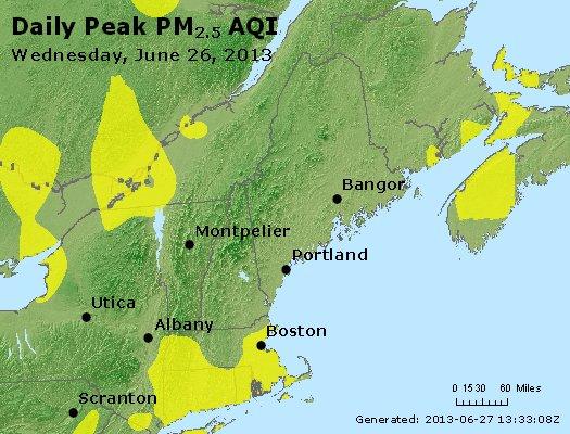 Peak Particles PM<sub>2.5</sub> (24-hour) - http://files.airnowtech.org/airnow/2013/20130626/peak_pm25_vt_nh_ma_ct_ri_me.jpg