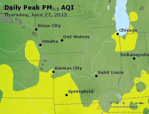 Peak Particles PM<sub>2.5</sub> (24-hour) - http://files.airnowtech.org/airnow/2013/20130627/peak_pm25_ia_il_mo.jpg