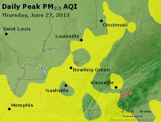 Peak Particles PM<sub>2.5</sub> (24-hour) - http://files.airnowtech.org/airnow/2013/20130627/peak_pm25_ky_tn.jpg