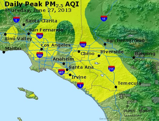 Peak Particles PM<sub>2.5</sub> (24-hour) - http://files.airnowtech.org/airnow/2013/20130627/peak_pm25_losangeles_ca.jpg