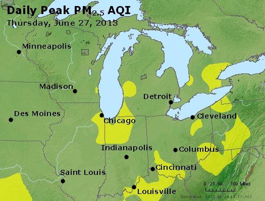 Peak Particles PM<sub>2.5</sub> (24-hour) - http://files.airnowtech.org/airnow/2013/20130627/peak_pm25_mi_in_oh.jpg