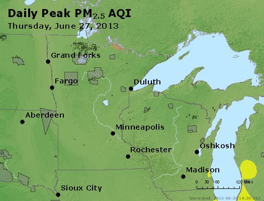 Peak Particles PM<sub>2.5</sub> (24-hour) - http://files.airnowtech.org/airnow/2013/20130627/peak_pm25_mn_wi.jpg