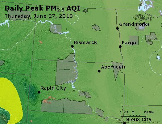 Peak Particles PM<sub>2.5</sub> (24-hour) - http://files.airnowtech.org/airnow/2013/20130627/peak_pm25_nd_sd.jpg