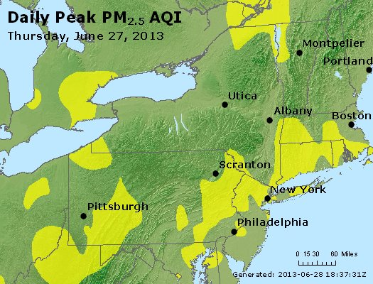 Peak Particles PM<sub>2.5</sub> (24-hour) - http://files.airnowtech.org/airnow/2013/20130627/peak_pm25_ny_pa_nj.jpg