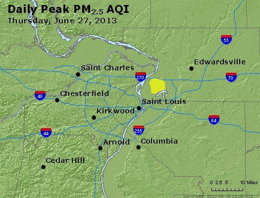 Peak Particles PM<sub>2.5</sub> (24-hour) - http://files.airnowtech.org/airnow/2013/20130627/peak_pm25_stlouis_mo.jpg