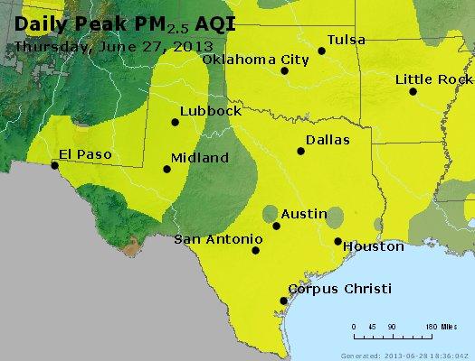 Peak Particles PM<sub>2.5</sub> (24-hour) - http://files.airnowtech.org/airnow/2013/20130627/peak_pm25_tx_ok.jpg