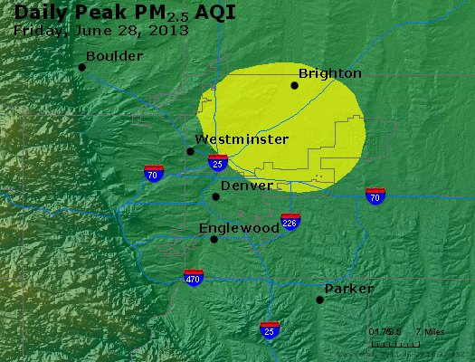 Peak Particles PM<sub>2.5</sub> (24-hour) - http://files.airnowtech.org/airnow/2013/20130628/peak_pm25_denver_co.jpg