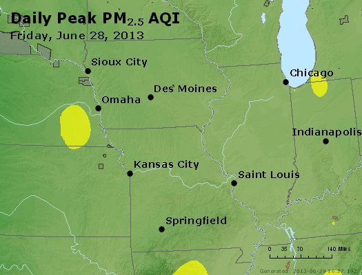 Peak Particles PM<sub>2.5</sub> (24-hour) - http://files.airnowtech.org/airnow/2013/20130628/peak_pm25_ia_il_mo.jpg