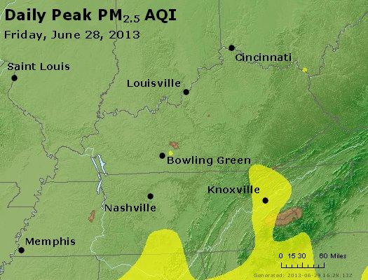 Peak Particles PM<sub>2.5</sub> (24-hour) - http://files.airnowtech.org/airnow/2013/20130628/peak_pm25_ky_tn.jpg