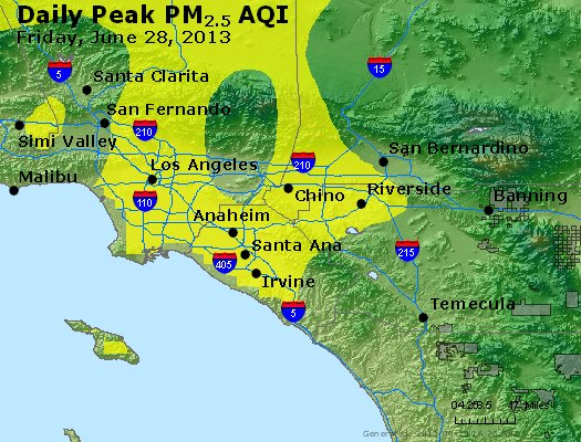 Peak Particles PM<sub>2.5</sub> (24-hour) - http://files.airnowtech.org/airnow/2013/20130628/peak_pm25_losangeles_ca.jpg