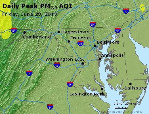 Peak Particles PM<sub>2.5</sub> (24-hour) - http://files.airnowtech.org/airnow/2013/20130628/peak_pm25_maryland.jpg