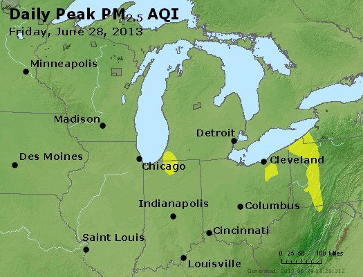 Peak Particles PM<sub>2.5</sub> (24-hour) - http://files.airnowtech.org/airnow/2013/20130628/peak_pm25_mi_in_oh.jpg