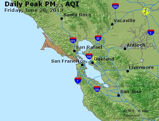 Peak Particles PM<sub>2.5</sub> (24-hour) - http://files.airnowtech.org/airnow/2013/20130628/peak_pm25_sanfrancisco_ca.jpg