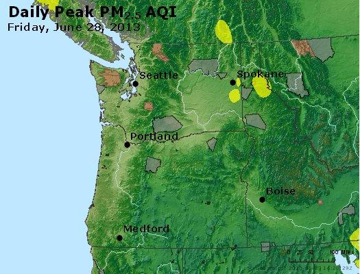 Peak Particles PM<sub>2.5</sub> (24-hour) - http://files.airnowtech.org/airnow/2013/20130628/peak_pm25_wa_or.jpg