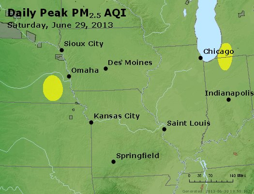 Peak Particles PM<sub>2.5</sub> (24-hour) - http://files.airnowtech.org/airnow/2013/20130629/peak_pm25_ia_il_mo.jpg