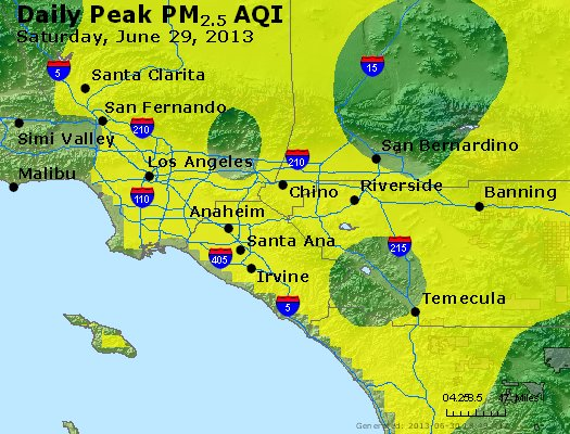 Peak Particles PM<sub>2.5</sub> (24-hour) - http://files.airnowtech.org/airnow/2013/20130629/peak_pm25_losangeles_ca.jpg