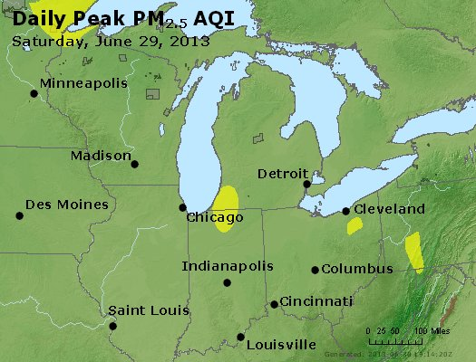 Peak Particles PM<sub>2.5</sub> (24-hour) - http://files.airnowtech.org/airnow/2013/20130629/peak_pm25_mi_in_oh.jpg
