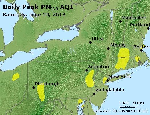 Peak Particles PM<sub>2.5</sub> (24-hour) - http://files.airnowtech.org/airnow/2013/20130629/peak_pm25_ny_pa_nj.jpg