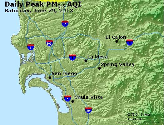 Peak Particles PM<sub>2.5</sub> (24-hour) - http://files.airnowtech.org/airnow/2013/20130629/peak_pm25_sandiego_ca.jpg