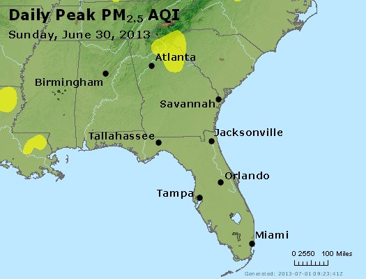 Peak Particles PM<sub>2.5</sub> (24-hour) - http://files.airnowtech.org/airnow/2013/20130630/peak_pm25_al_ga_fl.jpg