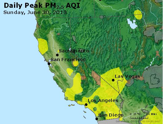 Peak Particles PM<sub>2.5</sub> (24-hour) - http://files.airnowtech.org/airnow/2013/20130630/peak_pm25_ca_nv.jpg