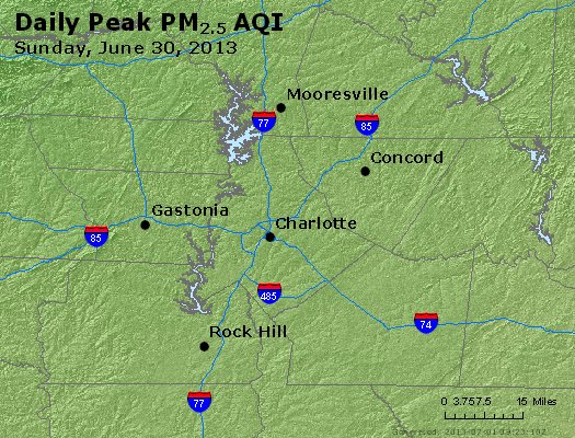 Peak Particles PM<sub>2.5</sub> (24-hour) - http://files.airnowtech.org/airnow/2013/20130630/peak_pm25_charlotte_nc.jpg