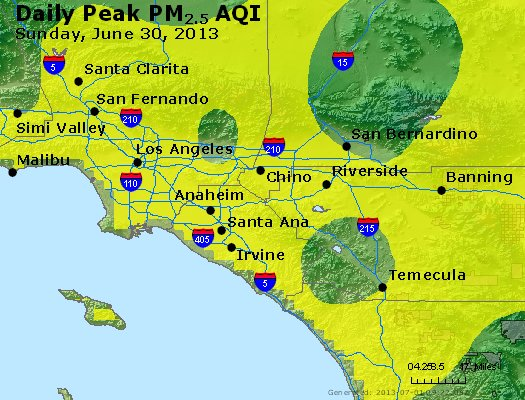 Peak Particles PM<sub>2.5</sub> (24-hour) - http://files.airnowtech.org/airnow/2013/20130630/peak_pm25_losangeles_ca.jpg