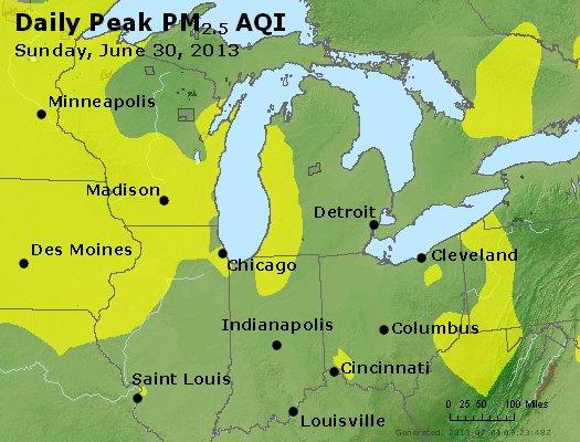 Peak Particles PM<sub>2.5</sub> (24-hour) - http://files.airnowtech.org/airnow/2013/20130630/peak_pm25_mi_in_oh.jpg