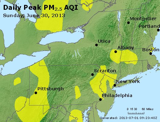 Peak Particles PM<sub>2.5</sub> (24-hour) - http://files.airnowtech.org/airnow/2013/20130630/peak_pm25_ny_pa_nj.jpg