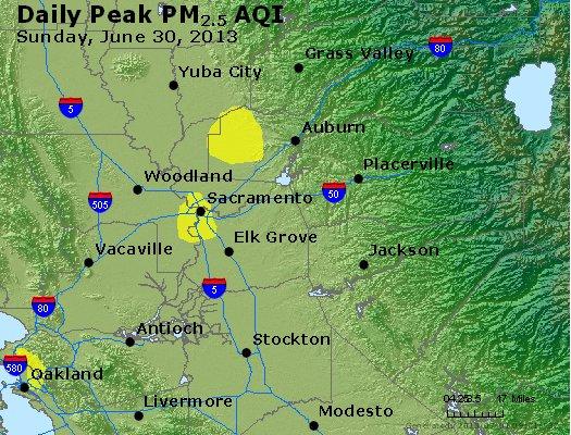 Peak Particles PM<sub>2.5</sub> (24-hour) - http://files.airnowtech.org/airnow/2013/20130630/peak_pm25_sacramento_ca.jpg
