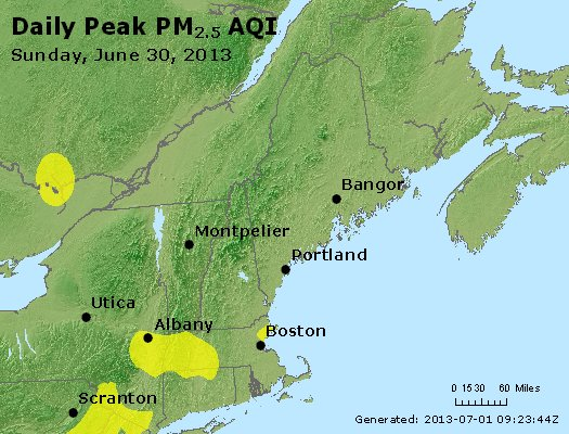 Peak Particles PM<sub>2.5</sub> (24-hour) - http://files.airnowtech.org/airnow/2013/20130630/peak_pm25_vt_nh_ma_ct_ri_me.jpg