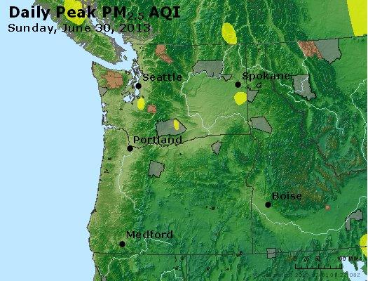 Peak Particles PM<sub>2.5</sub> (24-hour) - http://files.airnowtech.org/airnow/2013/20130630/peak_pm25_wa_or.jpg