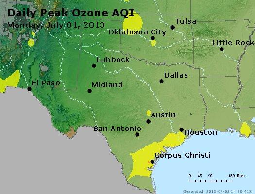 Peak Ozone (8-hour) - http://files.airnowtech.org/airnow/2013/20130701/peak_o3_tx_ok.jpg