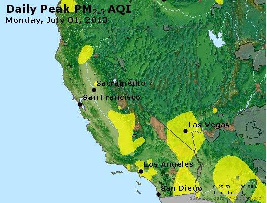 Peak Particles PM<sub>2.5</sub> (24-hour) - http://files.airnowtech.org/airnow/2013/20130701/peak_pm25_ca_nv.jpg