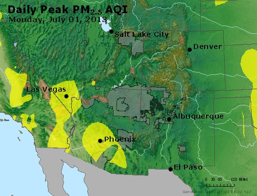 Peak Particles PM<sub>2.5</sub> (24-hour) - http://files.airnowtech.org/airnow/2013/20130701/peak_pm25_co_ut_az_nm.jpg