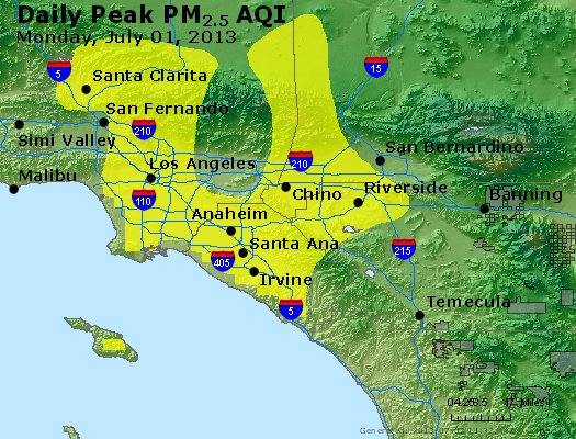 Peak Particles PM<sub>2.5</sub> (24-hour) - http://files.airnowtech.org/airnow/2013/20130701/peak_pm25_losangeles_ca.jpg